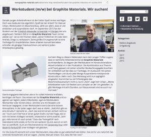 Unternehmensblog mit Mitarbeiter-Interviews // Graphite Materials