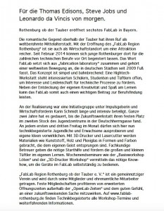 Pressetext // FabLab Rothenburg ob der Tauber e. V.