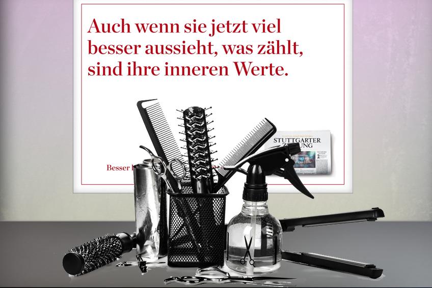 Plakat beim Friseur // Stuttgarter Zeitung
