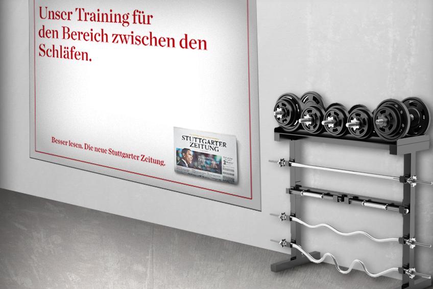 OOH-Plakat im Fitness-Studio // Stuttgarter Zeitung