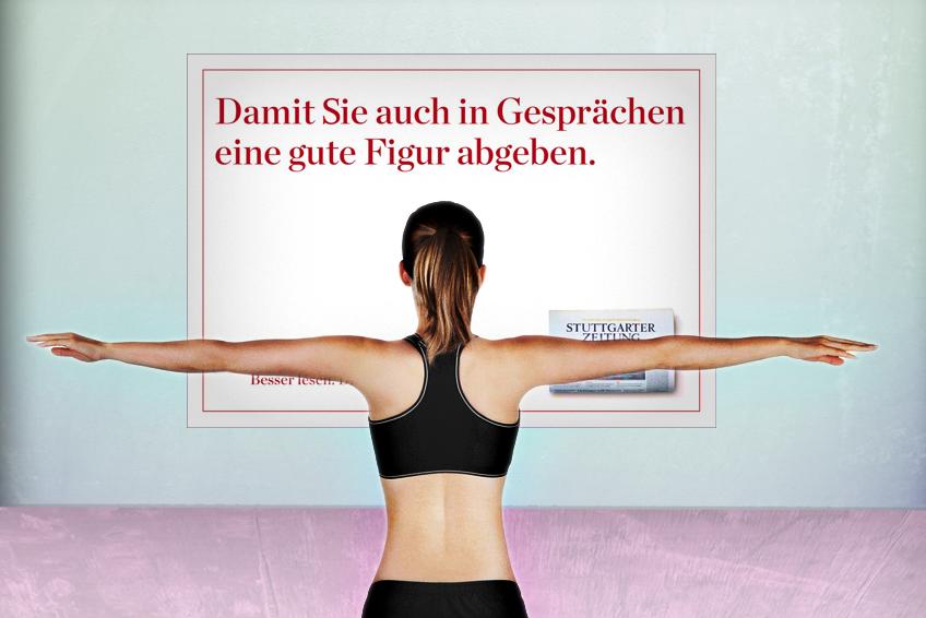 OOH-Plakat im Pilates-Studio // Stuttgarter Zeitung