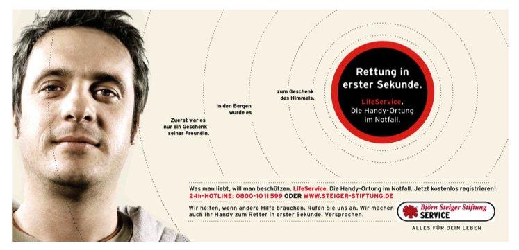 Printanzeige aus der LifeService Kampagne // Björn Steiger Stiftung
