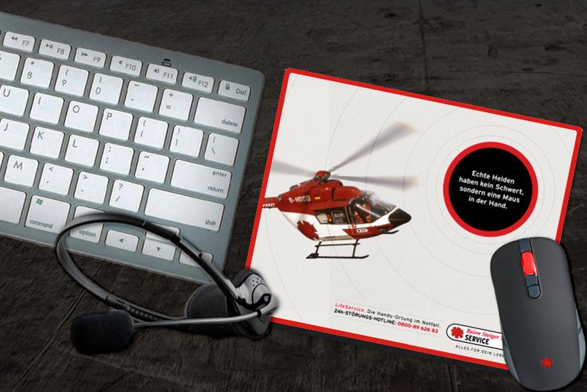 Mousepad aus der LifeService Kampagne // Björn Steiger Stiftung