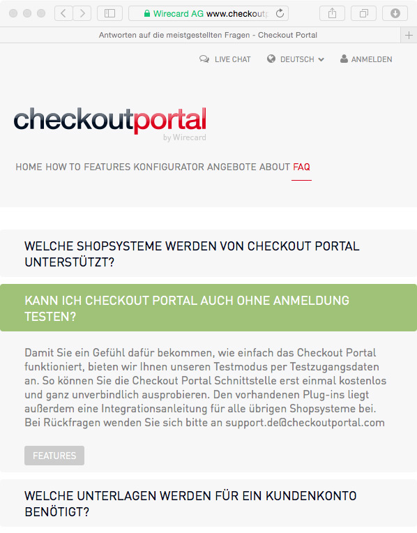 Website // Checkoutportal