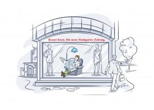 Kommunikation im Raum 'Der Zeitungsleser' // Stuttgarter Zeitung