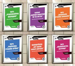 WC-Plakate auf dem Campus // rosenau Bayreuth