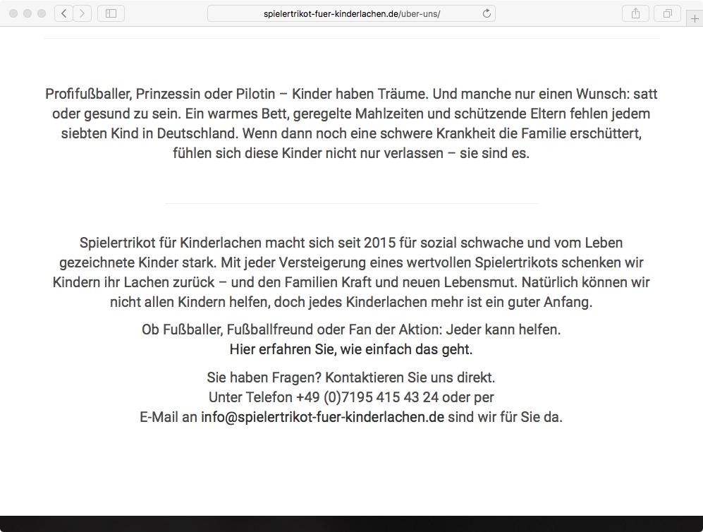 Website // Spielertrikot für Kinderlachen