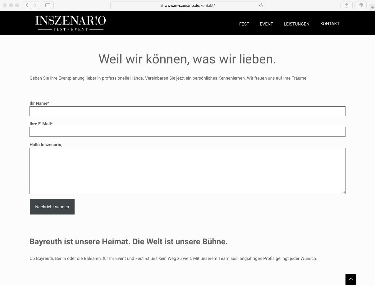 Website // Inszenario